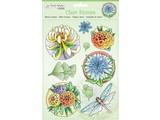 Stempel / Stamp: Transparent selos transparentes: flores e libélula