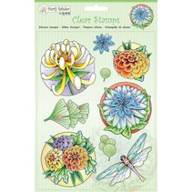 Transparent stamps: flowers and dragonfly