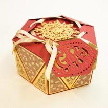 Estampado y grabado en relieve de plantilla: Favor diamante La caja de apretón