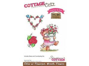 Cottage Cutz NEU Stanzschablone + Stempel: Bärchen mit Kranz und Blumen