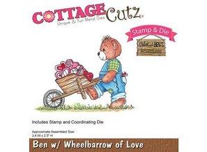 Cottage Cutz NYE stempling stencil stempel +: Bjørn med trillebør