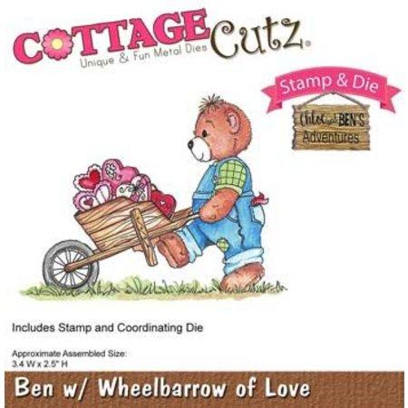 Cottage Cutz NUEVO sello de estampado stencil +: oso con la carretilla