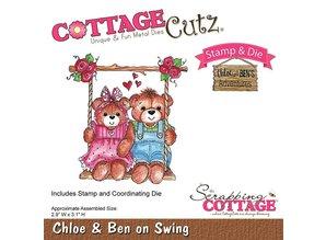 Cottage Cutz NUEVO estampado el sello de la plantilla +: Oso en el columpio