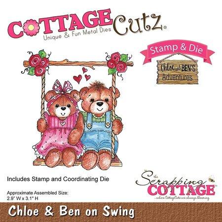 Cottage Cutz NEU Stanzschablone + Stempel: Bärchen auf der Schaukel