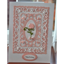 Punching template: decorative frame + Rose