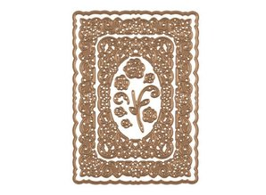 Spellbinders und Rayher Punching template: decorative frame + Rose