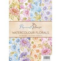Paquete de papel A4 flores acuarela, 40 hojas