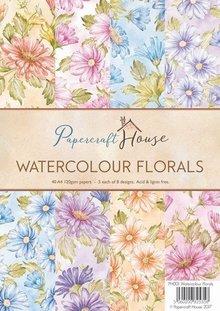 Wild Rose Studio`s A4 papir Pack akvarel blomster, 40 ark