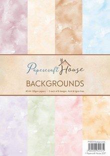 Wild Rose Studio`s A4 papir Pack akvarel baggrund, 40 ark