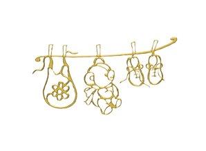 Embellishments / Verzierungen Klebemotiv: Babys World, bow 10x24,5 cm, gold