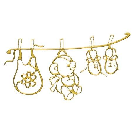 Embellishments / Verzierungen Klebemotiv: Babys Welt, Bogen 10x24,5 cm, gold