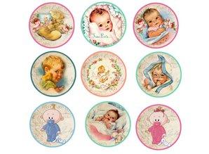 Embellishments / Verzierungen 9 Labels, mit niedliche Baby Motiven