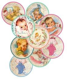 Embellishments / Verzierungen 9 Etiketter med søde baby-motiver