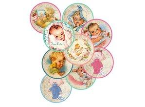 Embellishments / Verzierungen 9 Labels with cute baby motifs