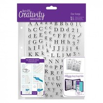Transparante stempels met hoofdletters en kleine letters
