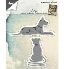 Joy!Crafts Stansning skabelon: hunde liggende og siddende