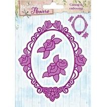 Stempelen en reliëf patroon: Rose decoratief frame en twee rozen