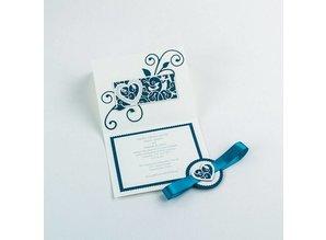 TONIC Estampado y grabado en relieve de plantilla: Corazón de filigrana borde decorativo y aves