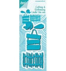 Joy!Crafts Stamping template: shells, text panels and fence
