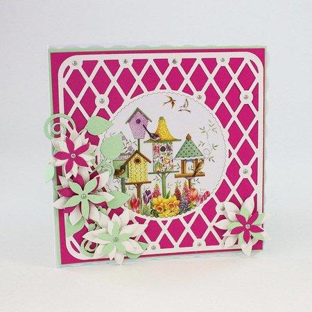 TONIC Stempling og prægning skabelon: filigran dekorativ kant med blomster