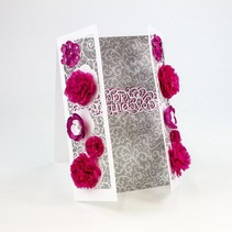 Stamping and embossing template: filigree decorative border with flowers