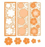 TONIC Estampado y grabado en relieve de plantilla: borde decorativo filigrana con flores