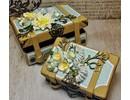 Holz, MDF, Pappe, Objekten zum Dekorieren 2 Nostálgico Mini maleta, hecha de cartón fuerte.