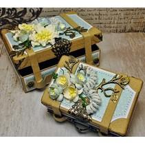 2 Nostalgische mini koffer, gemaakt van stevig karton.