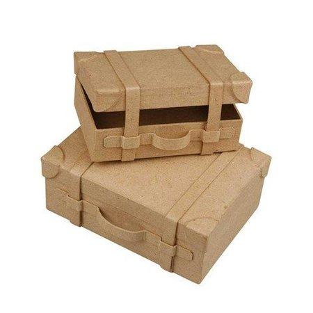Holz, MDF, Pappe, Objekten zum Dekorieren 2 Nostalgisk mini kuffert, lavet af kraftigt pap.