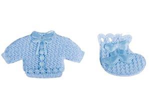 Embellishments / Verzierungen Babyaccessoires chemise + socks baby blue