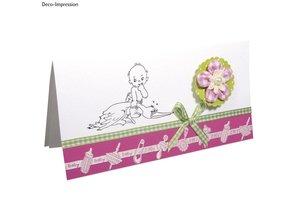 Embellishments / Verzierungen Satin Motiv-Stanzband babyrosa