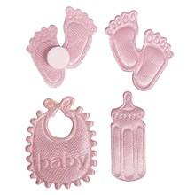 Embellishments / Verzierungen Satén Streuteile huella y de la botella y Latz en rosa bebé
