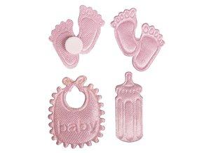 Embellishments / Verzierungen Satin litter footing & bottle & bib in baby pink