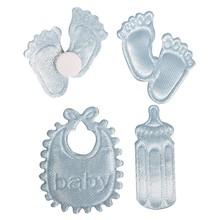 Embellishments / Verzierungen Satin Streuteile Fußspur & Flasche & Latz in Babyblau
