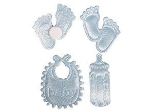 Embellishments / Verzierungen Satin Streuteile footprint & Bottle & Latz in Baby Blue