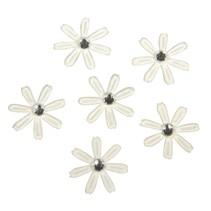 60 satin blomster med rhinsten, 1,8 cm ø elfenben