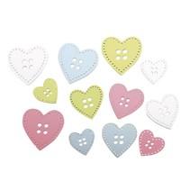 24 boutons en bois coeur en 3 tailles