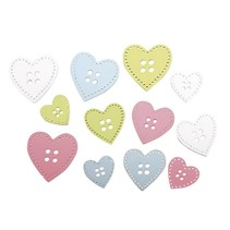 24 wooden buttons heart in 3 sizes