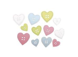 Embellishments / Verzierungen 24 botones de madera corazón en 3 tamaños