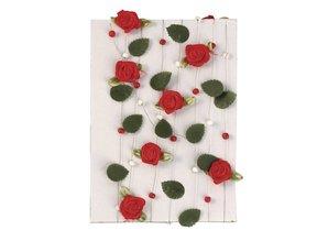 Embellishments / Verzierungen rosa roja guirnalda con hojas + perlas