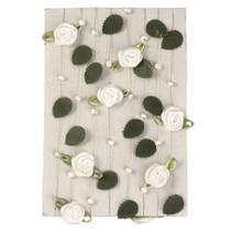 Rose garland con foglie + bianco perla