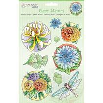sellos transparentes: flores y libélulas