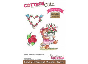Cottage Cutz NEW Stamping template + stamp: bear with wreath and flowers