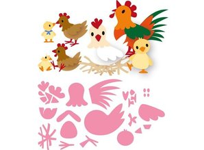 Marianne Design Stansning skabelon: Eline kylling familie