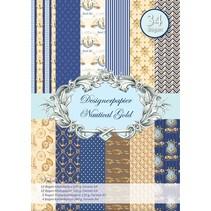 Designerpapierset, Nautical Gold