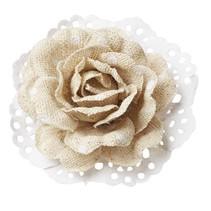 Rosen in Linen optik 6cm - 2 Stück