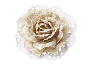 BLUMEN (MINI) UND ACCESOIRES Roses in Linen optics 6cm - 2 pieces