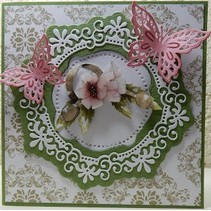 Punching template: Flower decorative frame