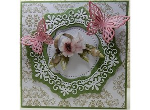 Precious Marieke Punching template: Flower decorative frame