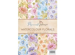 Wild Rose Studio`s A4 Paper Pack Watercolour florals, 40 Bogen